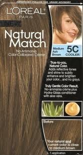 L'Oreal Natural Match No-Ammonia Color-Calibrated Creme, Medium Ash Brown, 5C Cooler