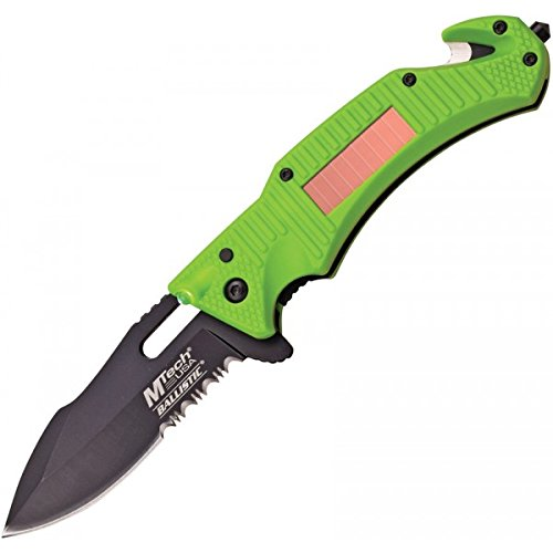 "MTech MTA887GN Solar LED A/O Folding Knife Blk 3.5"" Combo Blade/Lime Nylon Fiber"