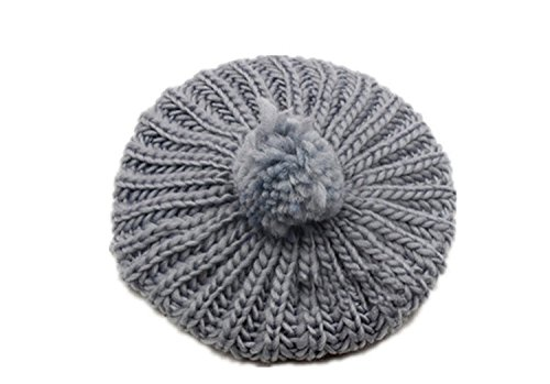 Lowest Prices! Women Girls Fashion Soft Winter Knitted Ball Cap, Gray