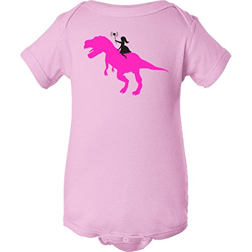 Inktastic Unisex Baby Princess Riding Her T-Rex Infant Creeper 12 Months Pink