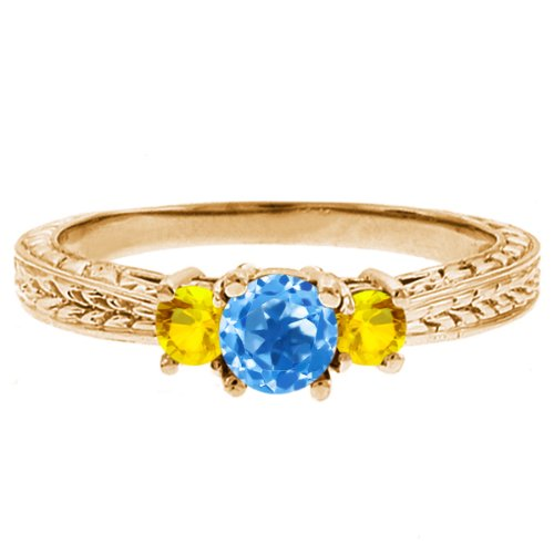 0.59 Ct Round Swiss Blue Topaz Yellow Sapphire 18K Yellow Gold 3-Stone Ring