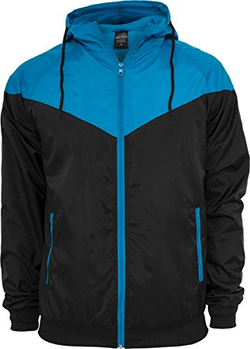 Urban Classics TB148 Giacca Windrunner antivento Arrow Uomo, Nero (Black/Türkis), L
