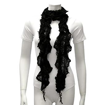 Luxury Divas Black Ruffled Lace Lightweight Gathered Scarf