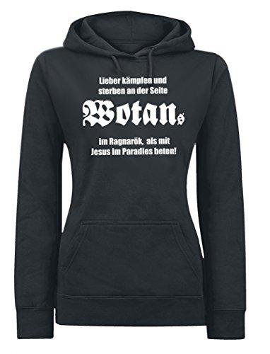 Wotan Textil -  Felpa con cappuccio  - Basic - Donna nero XXL
