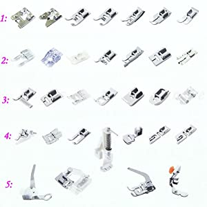 Estone 1 Set 15/32pcs Presser Foot Feet For Brother Singer Domestic Janome Sewing Machine by Estone