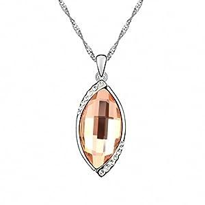 TTH Women's Swarovski Elements Crystal Pendant Short Necklace [Wish My Stone, Vintage Rose ] 18KGP