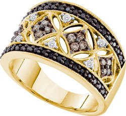 14k Yellow Gold Cognac-brown Colored & Natural White with Black Diamond Cluster Cocktail Fashion Band Ring Unique Womens Ladies - .50 (1/2) Ct.t.w.