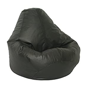 Leather Luxe Bean Bag  Extra Large, Black