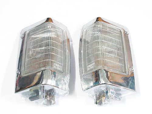90-97 Nissan Pickup Truck D21 Hardbody Chrome Parking Light Corner Side Pair Set (92 Nissan Hardbody Parts compare prices)