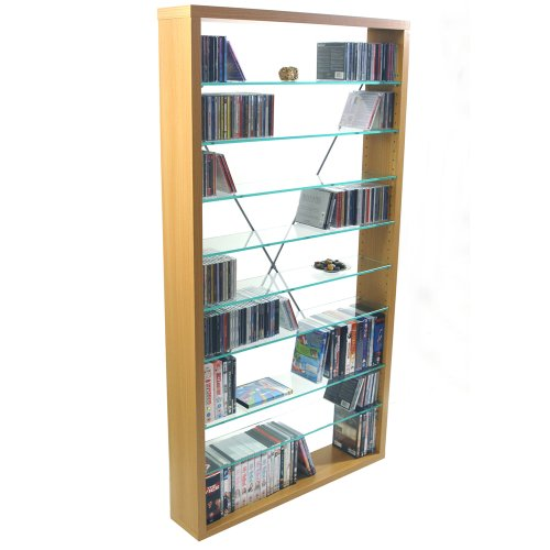 ARIZONA - CD / DVD / Blu-ray / Media Glass Storage Shelves - Beech