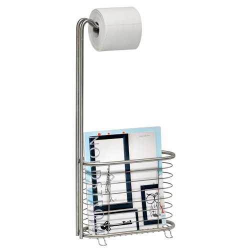 InterDesign Forma Ultra Magazine Stand Plus, Brushed Stainless Steel