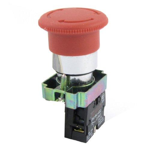 Sourcingmap - 660v 10 bis 21 millimetri filettato ritenuta rosso interruttore di pulsante di emergenza mushroomhead