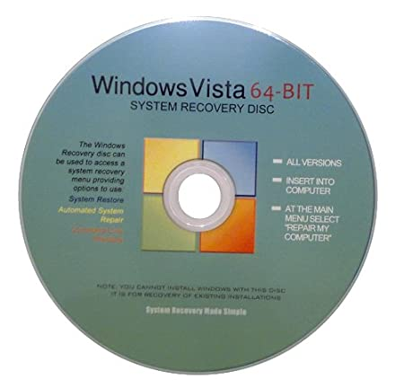 Windows Vista 64 Bit Recovery Boot Disc Disk CD [ALL VERSIONS, 2012 Latest]