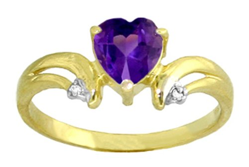 14k Solid Gold Amethyst Heart Ring with Diamond Accents - Size 7