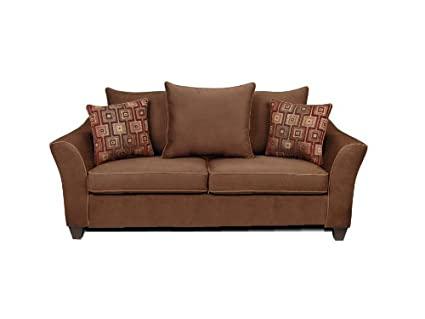 Chelsea Home Furniture Kendra Sofa, Upholstered in Victory Chocolate/Brancusi Ruby with Victory Sepia Welt