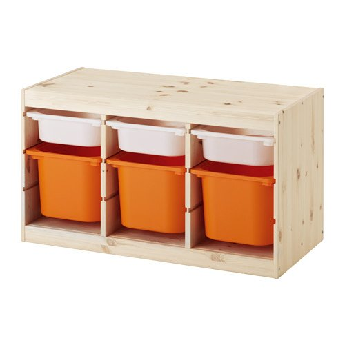 IKEA TROFAST(トロファスト)収納コンビネーション パイン材 ホワイト/オレンジ 94x44x52cm Y-WS3O3