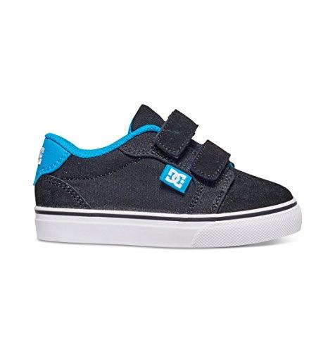 DC Anvil V Lowtop Skate Shoe (Toddler), Black/Turquoise, 8 M US Toddler