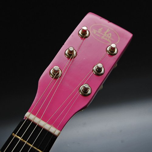 Ts-ideen Children's Play Guitar Wooden 59 cm with Bag and Strings Pink