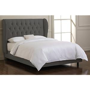 Skyline Furniture Waveland Wingback Bed Upholstered in Velvet Pewter