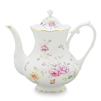Gracie China by Coastline Imports 4-Cup Porcelain Teapot, Purple Floral