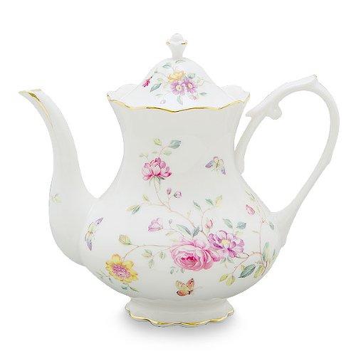 Gracie China by Coastline Imports 4-Cup Porcelain Teapot, Purple Floral 0