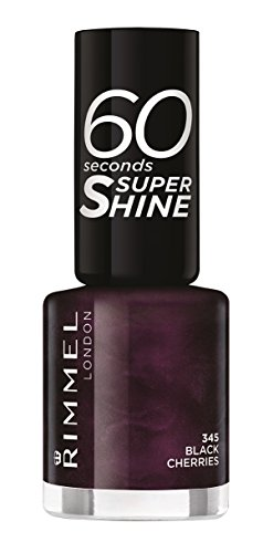 Rimmel London - 60 Seconds Supershine, Smalto per unghie ultra brillante, N. 345 Black Cherries, 8 ml