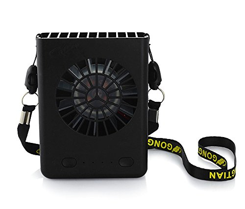 Deli 3 Speeds Portable Multi-functional Mini Rechargeable Fan Powered by 18650 Li-ion Battery (included) & USB Charging for Outdoor Travel with String (Black) (Usb Mini Portable Fan compare prices)
