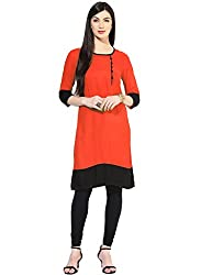 Varibha Girl's Branded Stitched Solid Red & Black Cotton Silk Low Price Kurti (Best Gift For Your Friend, Girlfriend, Wife, Sister, Casual, Free Size alterable till 42)