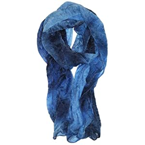 LibbySue-Watercolor Waterfall Sheer Print Scarf in Multi-Colors of Blues