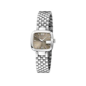 Gucci G-Gucci Collection Women's Quartz Watch with Brown Dial Analogue Display and Stainless Steel Bracelet YA125516