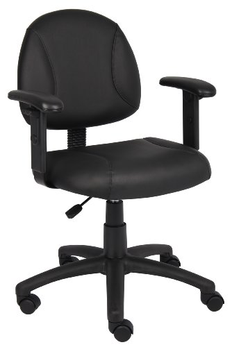 Boss Leather Plus Posture Task Chair with Adjustable Arms Leather Adjustable Arms