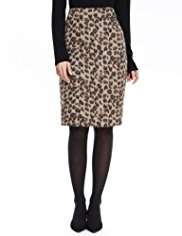 M&S Collection Animal Print Pencil Skirt with New Wool