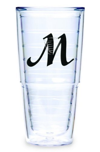 Tervis Tumbler Black Laser Twill Initial - M 24-Ounce Double Wall Insulated Tumbler Set Of 2 front-987527