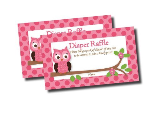 Pink Owl Printed Diaper Raffle Tickets Baby Shower Games (50-cards)