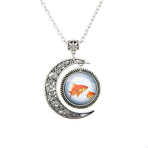 Moon pendant Goldfish necklace Goldfish pendant Goldfishes jewelry beauty pendant necklaces Charm gift