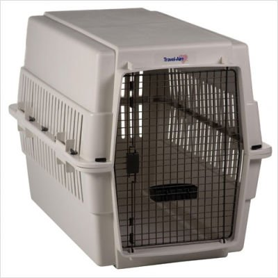 Extra Large Travel-Aire Plastic Dog Kennel in Almond