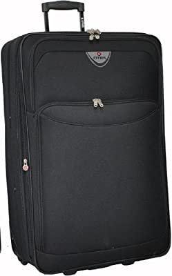X Large 29'' Super Lightweight Expandable Luggage Suitcase (Black)