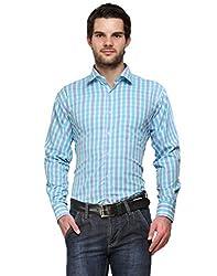 Ausy Light Blue Cotton Blend Mens's Shirt