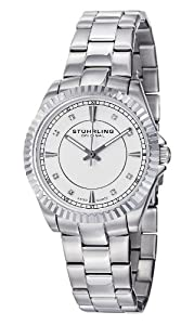 Stuhrling Original Women's 408L.12112 Aquadiver Regatta Lady Marine Swiss Quartz Silver Dial Stainless Steel Bracelet Watch