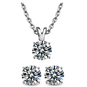 2.00 Carat Solitaire Pendant and 2.00 Carat Total Weight Earring & 18 Inch Rolo Chain