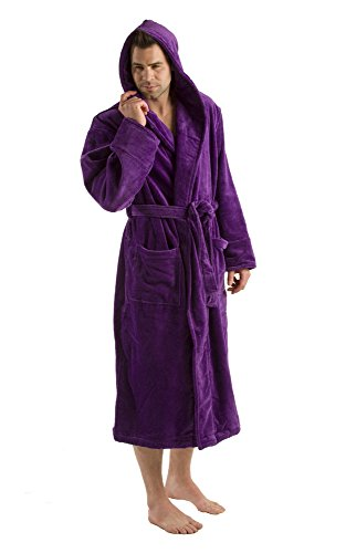 byLora Hooded Adult Robe For Men Women, Terry Cotton Bathrobe, PURPLE, ONE SIZE (Hooded Terry Cloth Robe For Women compare prices)