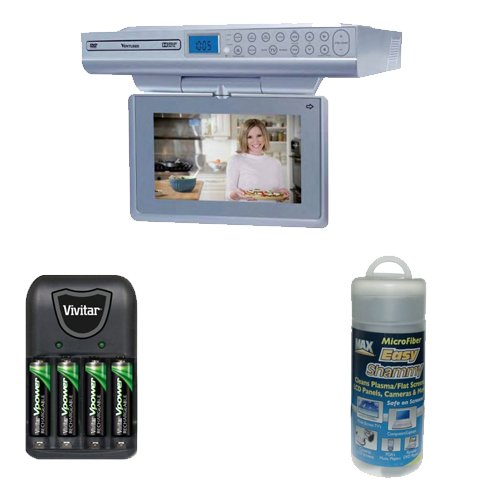 Venturer KLV39092 9″ Kitchen LCD TV/DVD Combo + Compact Battery Charger with 4 900mah AAA Batteries + Max Professional Microfiber Easy Shammy