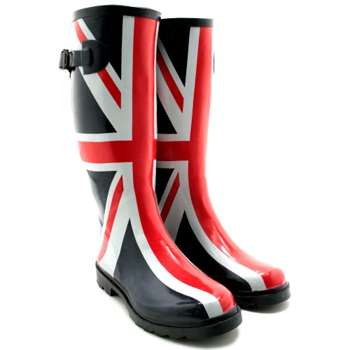 NEW LADIES UNION JACK FESTIVAL WELLIES WELLINGTONS BOOTS, SIZE US 10