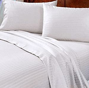 Damask sateen stripe 800 thread count 100 for Best egyptian cotton bed sheets