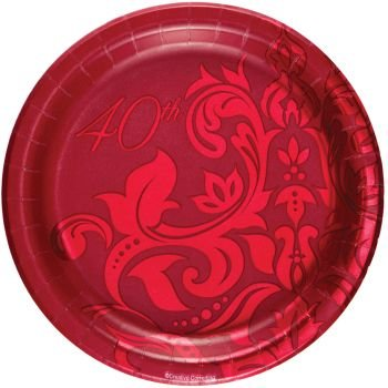 "Ruby Anniversary Luncheon Plate Foil 7"" (18) 40th"