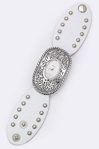 Chic Chelsea Western Plat Bezel Leather Cuff Fashion Watch (White)