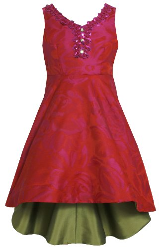 Tonal Rose Jacquard Embellished Neckline Hi-Lo Dress Fu4By Bonnie Jean Tween Girls Special Occasion Flower Girl Holiday Bnj Social Dress, Fuchsia front-1068439