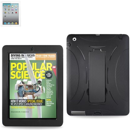 Reiko Hybrid Protective Rugged Silicone Case Cover with Kickstand for Apple iPad 2, Black (SLCPC06-IPAD2BK)