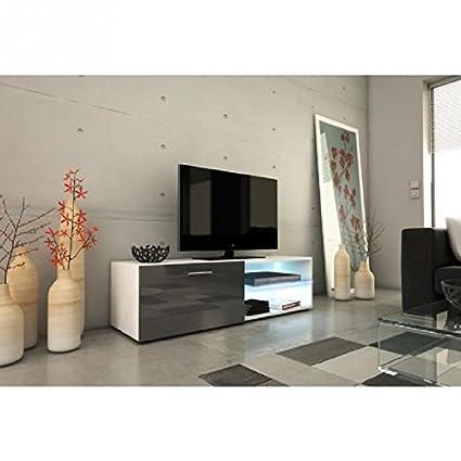 Kora-Mueble TV 120cm con iluminación LED-gris brillante