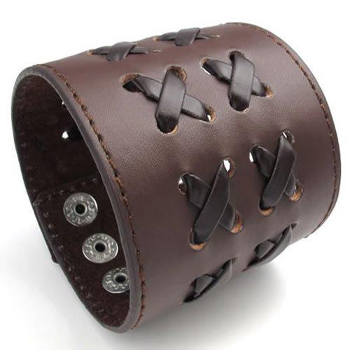 Konov Jewellery Wide Braided Genuine Leather Unisex Mens Bangle Cuff Bracelet, Punk Rock Style, Fits 7.5